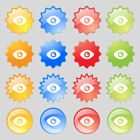 publish: Eye, Publish content icon sign. Set from sixteen multi-colored glass buttons with place for text. illustration