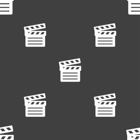 Cinema Clapper icon sign. Seamless pattern on a gray background. illustration