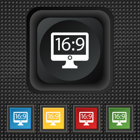 aspect: Aspect ratio 16:9 widescreen tv icon sign. symbol Squared colourful buttons on black texture. illustration Stock Photo