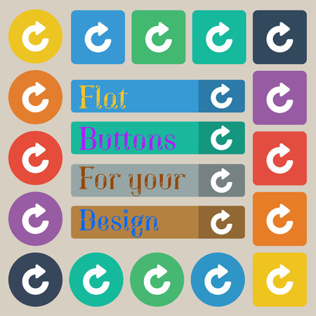 groupware: Upgrade, arrow icon sign. Set of twenty colored flat, round, square and rectangular buttons. illustration