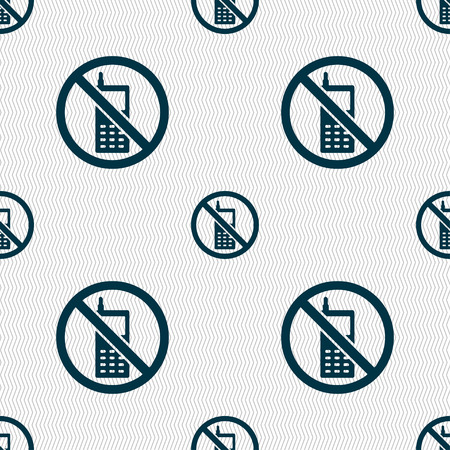 no cell phone sign: mobile phone is prohibited icon sign. Seamless pattern with geometric texture. illustration Stock Photo