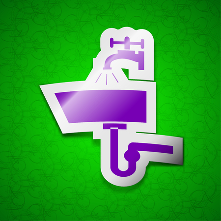 plating: Washbasin icon sign. Symbol chic colored sticky label on green background. illustration
