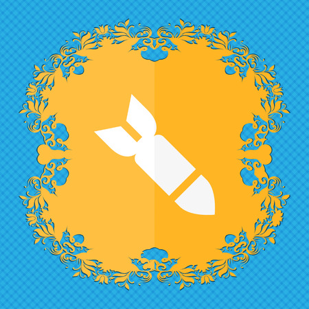 ballistic missile: Missile,Rocket weapon . Floral flat design on a blue abstract background with place for your text. illustration
