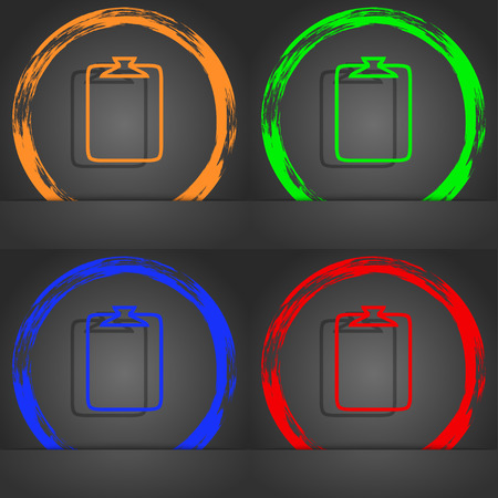 appendix: File annex icon. Paper clip symbol. Attach sign. Fashionable modern style. In the orange, green, blue, red design. illustration