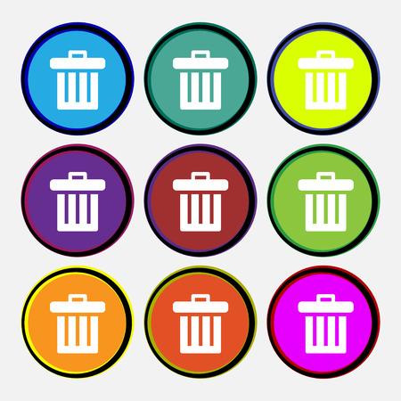 papelera de reciclaje: Reciclar el icono signo bin. Nueve de varios botones de colores redondos. ilustración Foto de archivo