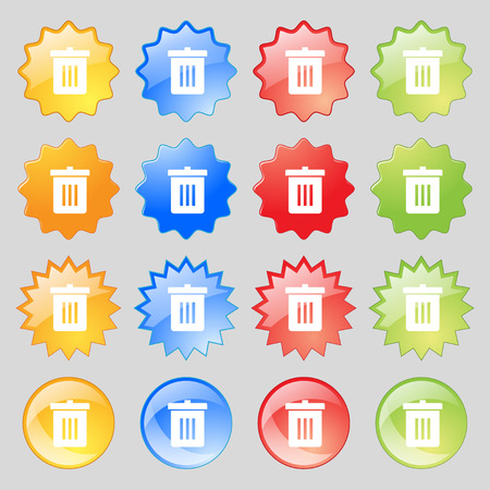 big bin: Recycle bin, Reuse or reduce icon sign. Big set of 16 colorful modern buttons for your design. illustration
