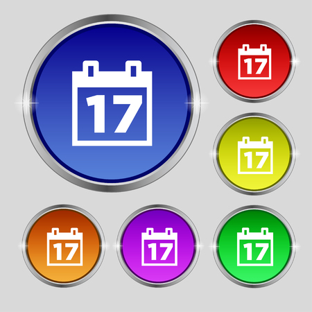 reminder icon: Calendar, Date or event reminder icon sign. Round symbol on bright colourful buttons. illustration