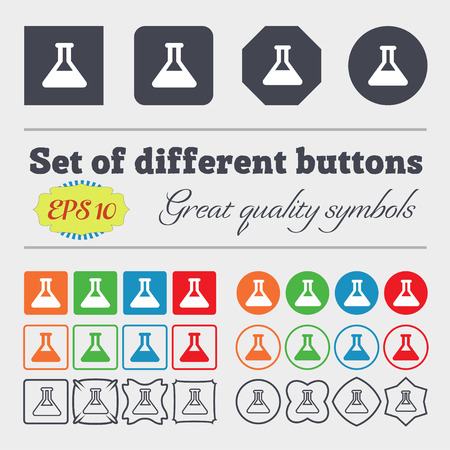 conical: Conical Flask icon sign. Big set of colorful, diverse, high-quality buttons. illustration