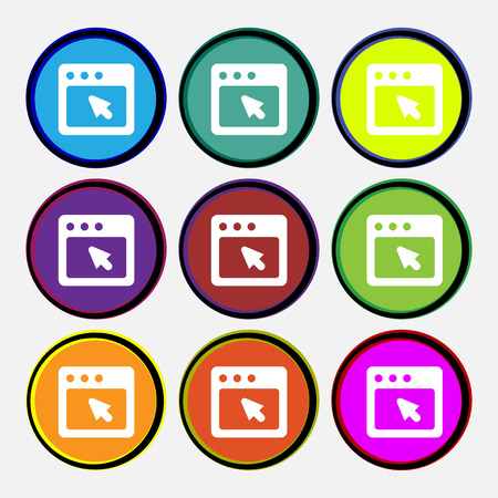 dialog box: the dialog box icon sign. Nine multi colored round buttons. illustration Stock Photo