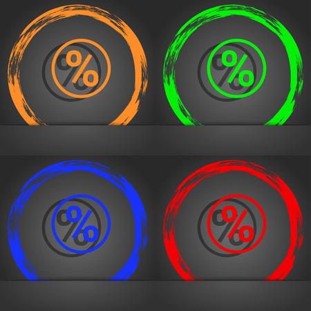 modern illustration: percentage discount icon symbol. Fashionable modern style. In the orange, green, blue, green design. illustration