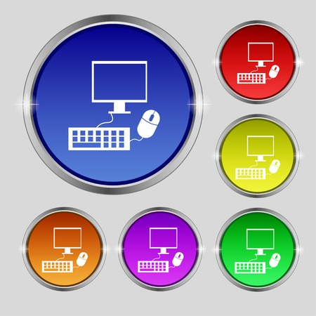 keyboard and mouse: Computer widescreen monitor, keyboard, mouse sign icon. Set colourful buttons illustration
