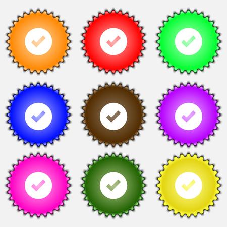 tik: Check mark, tik icon sign. A set of nine different colored labels. illustration