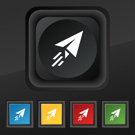 paper airplane: Paper airplane icon symbol. Set of five colorful, stylish buttons on black texture for your design. illustration