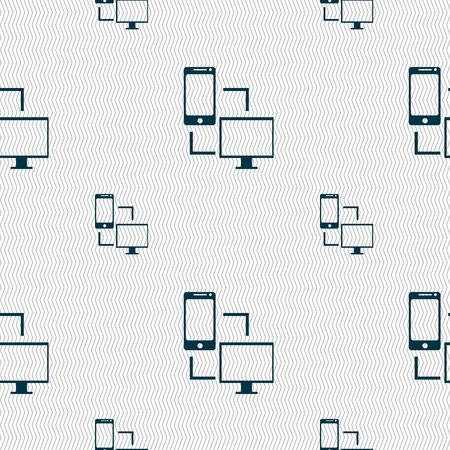 sync: Synchronization sign icon. communicators sync symbol. Data exchange. Seamless pattern with geometric texture. illustration Stock Photo