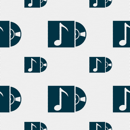cd player: cd player icon sign. Seamless pattern with geometric texture. illustration