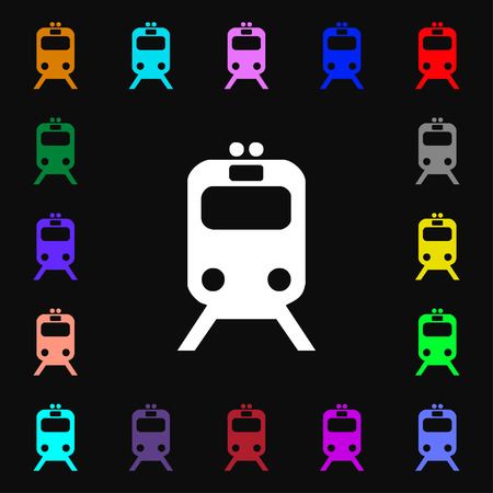 brigantine: train icon sign. Lots of colorful symbols for your design. illustration