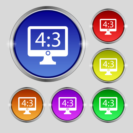 4 3 display: Aspect ratio 4 3 widescreen tv icon sign. Round symbol on bright colourful buttons. illustration Stock Photo