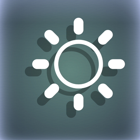 brightness: Brightness icon sign. On the blue-green abstract background with shadow and space for your text. illustration