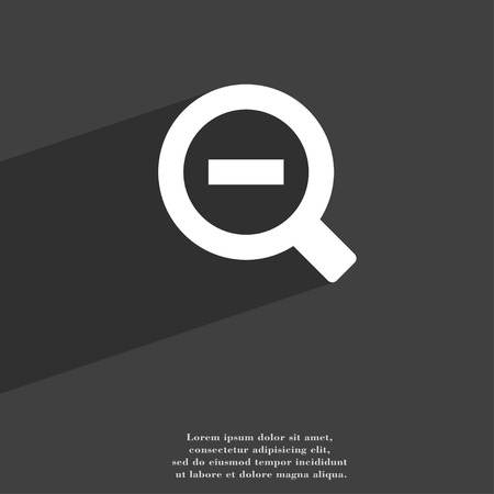 text tool: Magnifier glass, Zoom tool icon symbol Flat modern web design with long shadow and space for your text. illustration