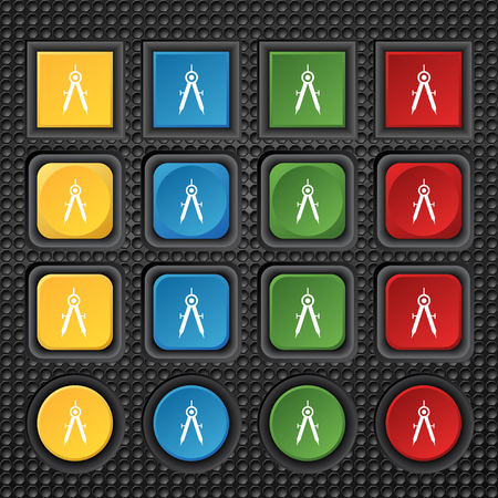precise: Mathematical Compass sign icon. Set of colored buttons. illustration