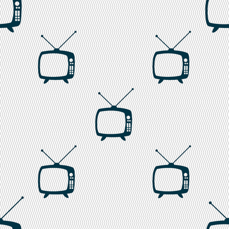 television set: Retro TV mode sign icon. Television set symbol. Seamless abstract background with geometric shapes. illustration