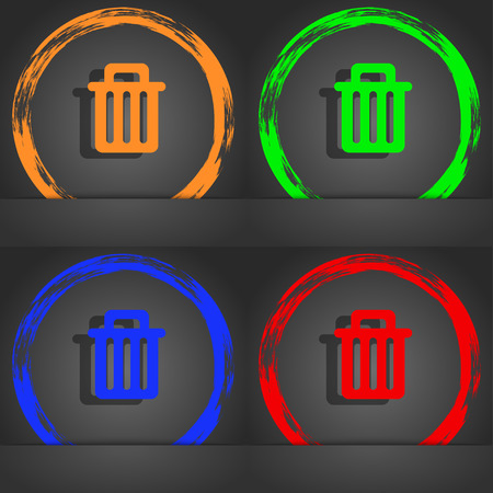 litter bin: Recycle bin icon symbol. Fashionable modern style. In the orange, green, blue, green design. illustration Stock Photo