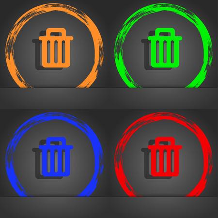 environmental awareness: Recycle bin icon symbol. Fashionable modern style. In the orange, green, blue, green design. illustration Stock Photo