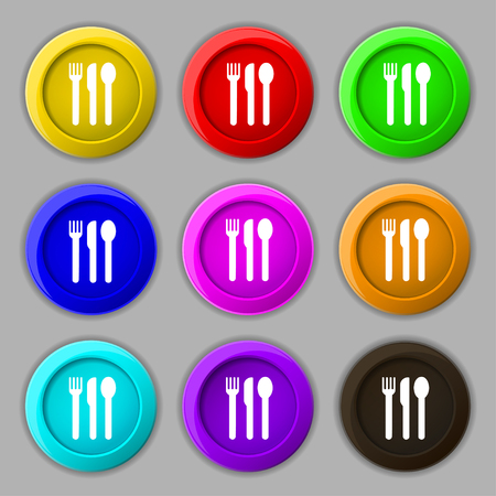 fork knife spoon: fork, knife, spoon icon sign. symbol on nine round colourful buttons. illustration Stock Photo