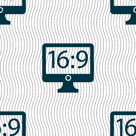 aspect: Aspect ratio 16:9 widescreen tv icon sign. Seamless pattern with geometric texture. illustration