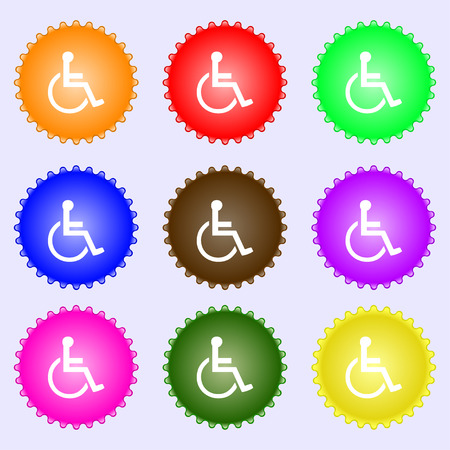 parking facilities: disabled icon sign. A set of nine different colored labels. illustration Stock Photo