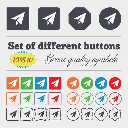 paper airplane: Paper airplane icon sign. Big set of colorful, diverse, high-quality buttons. illustration
