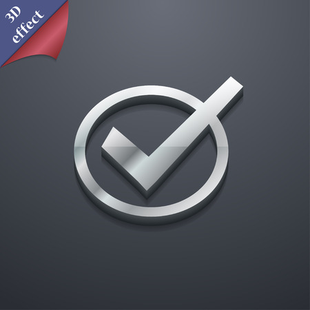 Check mark, tik icon symbol. 3D style. Trendy, modern design with space for your text illustration. Rastrized copy