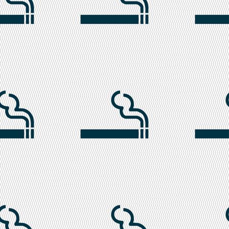 pernicious: cigarette smoke icon sign. Seamless pattern with geometric texture. illustration Stock Photo