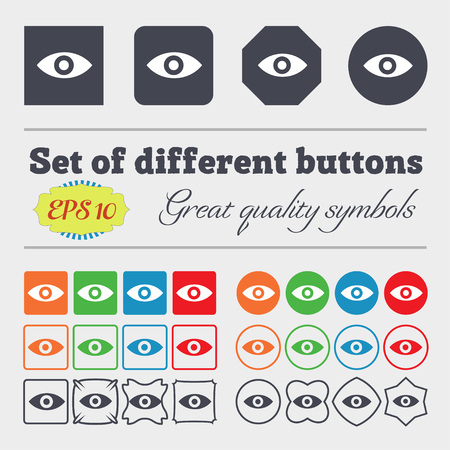 human eye: Eye, Publish content, sixth sense, intuition icon sign Big set of colorful, diverse, high-quality buttons. illustration Stock Photo