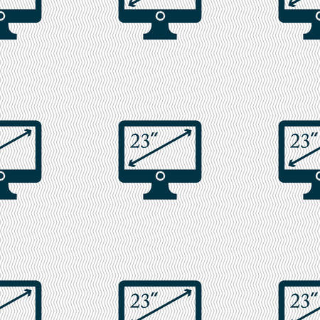 23: diagonal of the monitor 23 inches icon sign. Seamless abstract background with geometric shapes. illustration Stock Photo