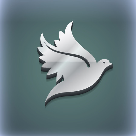 3d dove: Dove icon symbol. 3D style. Trendy, modern design with space for your text illustration. Raster version