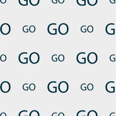 go sign: GO sign icon. Seamless abstract background with geometric shapes. illustration