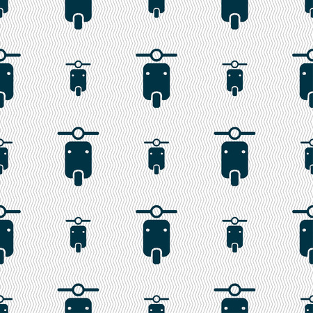 exhaust pipe: motorcycle icon sign. Seamless pattern with geometric texture. illustration