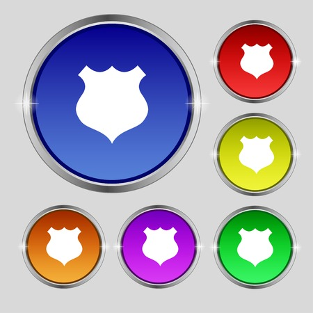 security token: Shield sign icon. Protection symbol. Set colourful buttons. illustration
