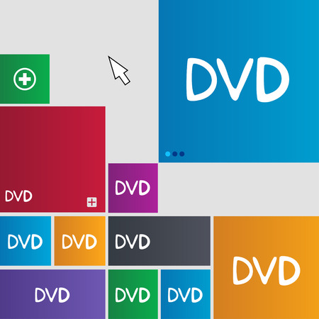 storage data product: dvd icon sign. buttons. Modern interface website buttons with cursor pointer. illustration Stock Photo