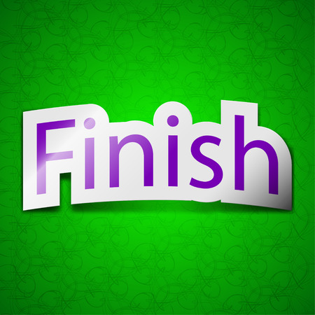 abort: Finish icon sign. Symbol chic colored sticky label on green background. illustration Stock Photo