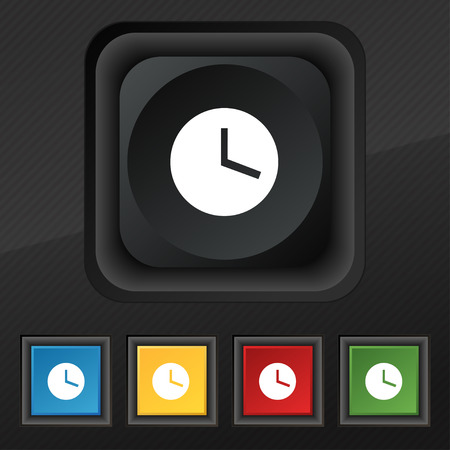 mechanical texture: Mechanical Clock  icon symbol. Set of five colorful, stylish buttons on black texture for your design. illustration Stock Photo