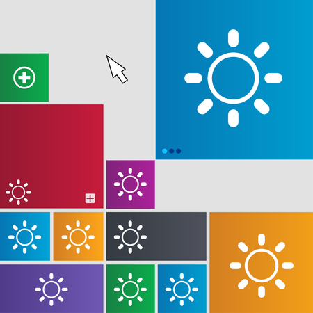 brightness: Brightness icon sign. Metro style buttons. Modern interface website buttons with cursor pointer. illustration