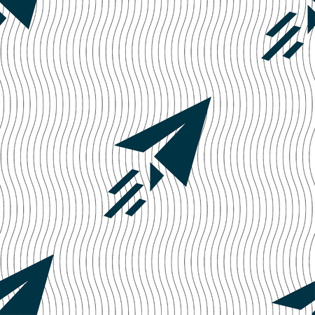 paper airplane: Paper airplane icon sign. Seamless pattern with geometric texture. illustration Stock Photo