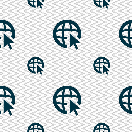 world wide web: Internet sign icon. World wide web symbol. Cursor pointer. Seamless pattern with geometric texture. illustration