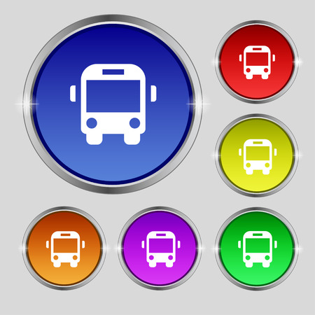 schoolbus: Bus icon sign. Round symbol on bright colourful buttons. illustration