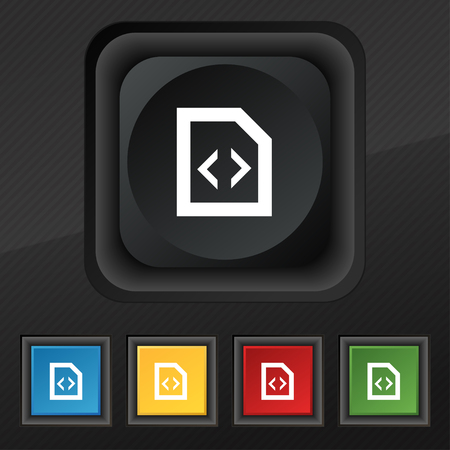 js: Script icon symbol. Set of five colorful, stylish buttons on black texture for your design. illustration Stock Photo