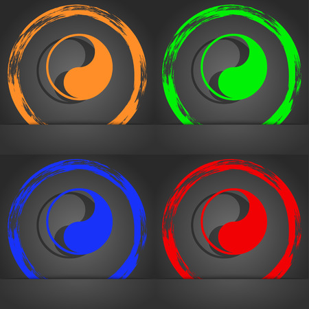 daoism: Yin Yang icon symbol. Fashionable modern style. In the orange, green, blue, green design. illustration Stock Photo