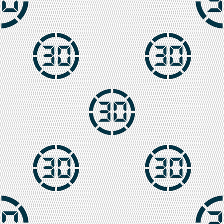 corner clock: 30 second stopwatch icon sign. Seamless abstract background with geometric shapes. illustration