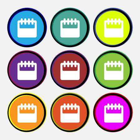 calendar icon: Notepad, calendar icon sign. Nine multi colored round buttons. illustration